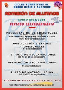 Fechas Admisión Extraordinaria septiembre Curso 21-21